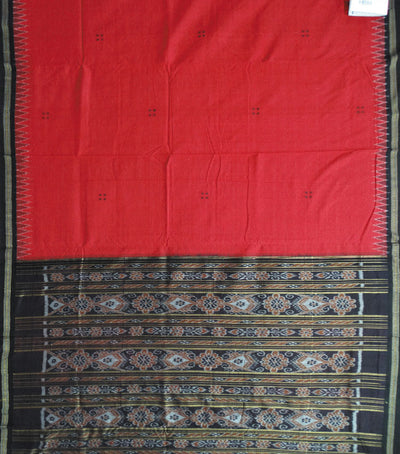 Nuapatna Traditional Maroon And Black Ikat Tie And Dye Cotton Saree