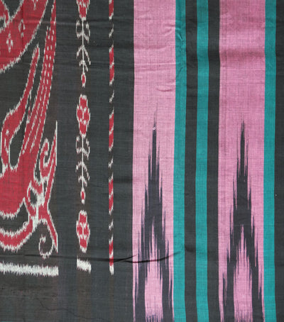 Nuapatna Baby Pink And Black Ikat Tie And Dye Traditional Kargil Cotton Saree