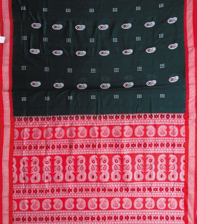 Exclusive Dark Green And Red Traditional Bomkai Cotton Saree
