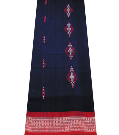 Exclusive Ink Blue And Red Traditional Bomkai Cotton Saree