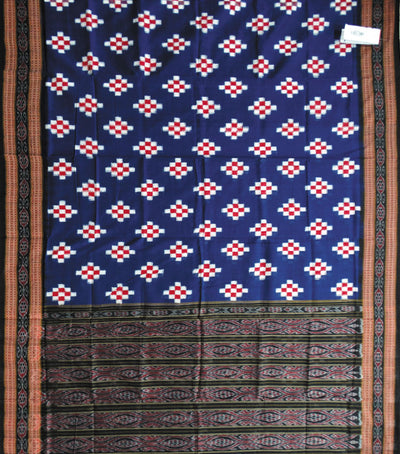 Exclusive Traditional Blue And Black Pasapalli Ikat tie And dye cotton Saree