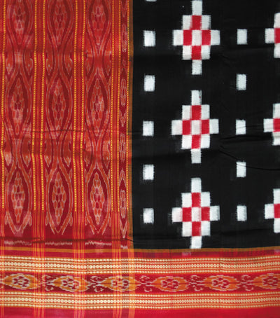 Exclusive Traditional Black And Red Pasapalli Ikat tie And dye cotton Saree