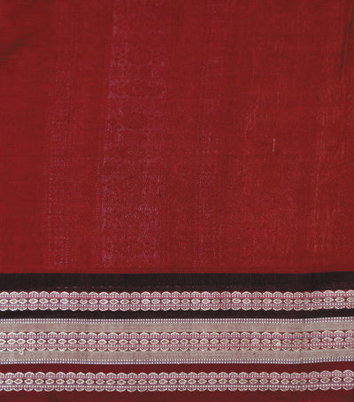 Exclusive Sandal And MaroonBlack Traditional Doll Bomkai Cotton Saree