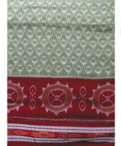 Light Green and Maroon Nuapatna Cotton Saree