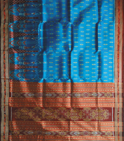 Exclusive Denim And Maroon Traditional Khandua silk Saree