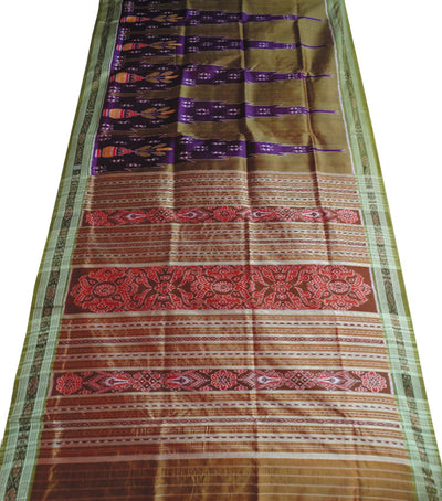 Exclusive Dark MagentaField Drab And Dark Moss Green Tribal Design Khandua silk Saree