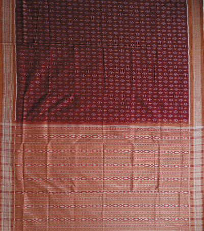 Exclusive Maroon And Fulvous Sambalpuri Traditional ikat Cotton Saree