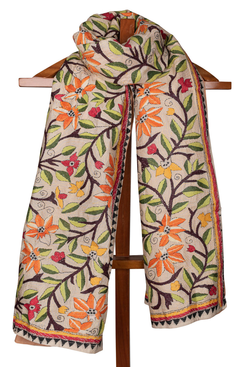 Biswa Bangla Tussar Kantha Shawl with Interlining