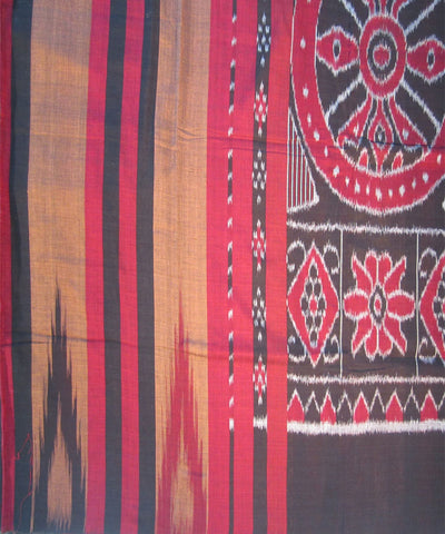 Nuapatna Brown and Maroon Cotton Saree