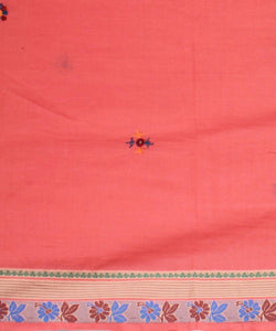peach hand embroidery cotton saree