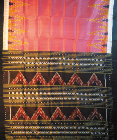 Exclusive Baby Pink And Black Traditional Khandua Silk Ikat Tie & Dye Saree