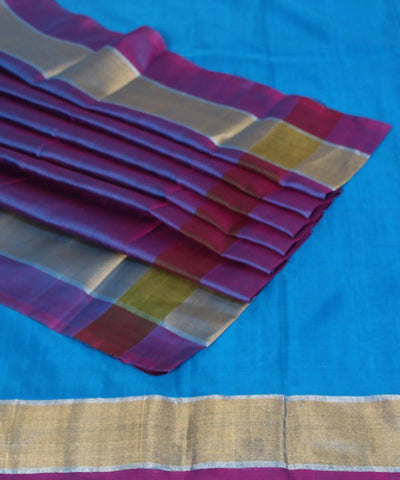 Blue and Pink Handwoven Uppada Silk Saree