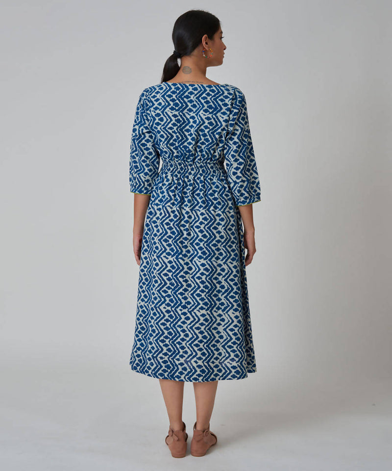 Handblock Printed Summer long Dress With Bobbin Elastic at Waist