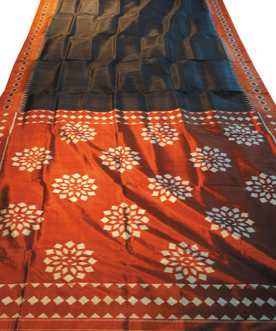 Black And Brick Nuapatna Khandua Slik Saree
