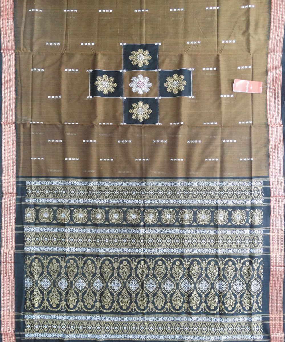 Brown Black Bomkai Cotton Handloom Saree