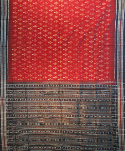 Maroon And Black Sonpuri Cotton Saree