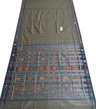 Barhampuri Coyote Brown And Azure Ikat Tie And Die checks Cotton Saree