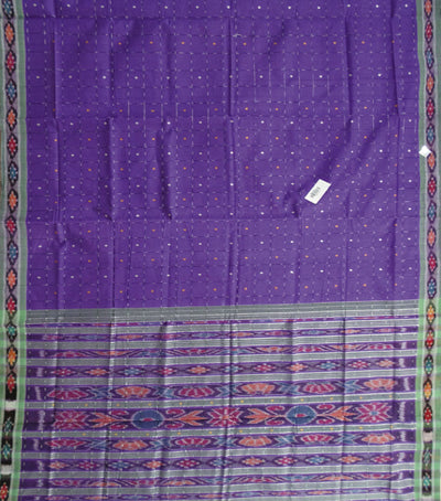 Barhampuri Violet And Light Green Ikat Tie And Die checks Cotton Saree