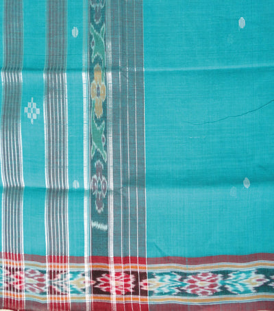 Barhampuri Dark Cyan And maroon Ikat Tie And Die Cotton Saree