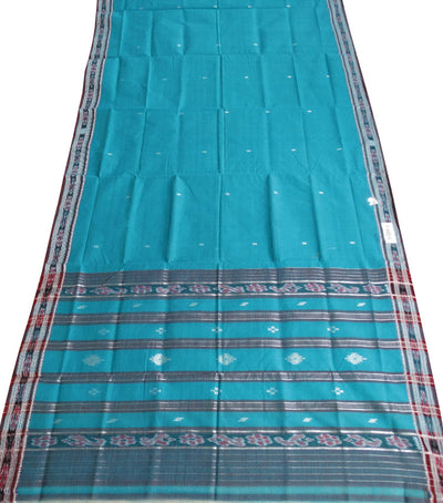 Barhampuri Deep Sky Blue And maroon Ikat Tie And Die Cotton Saree
