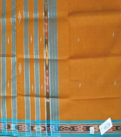 Barhampuri Burnt Orange And Green Ikat Tie And Die Cotton Saree