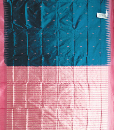 Exclusive Shiny Blue Sapphire And Brink Pink traditional Ikat tie And dye silk Saree