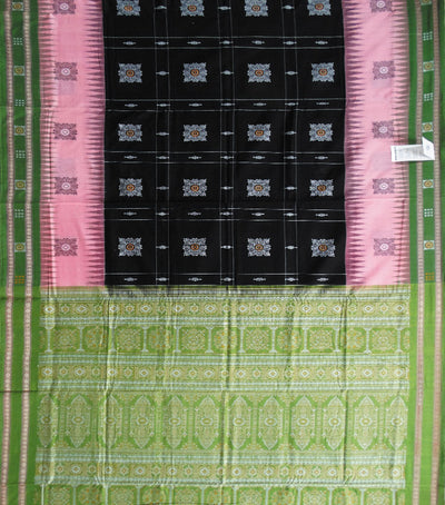 Exclusive Traditional Black And Apple Green Bomkai Cotton saree