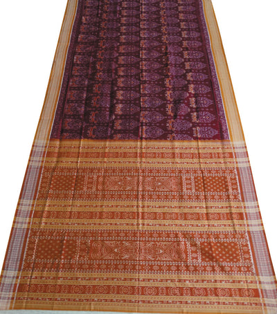 Unique Traditional Maroon And Sandal Sambalpuri Ikat tie And dye Cotton saree