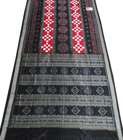Beautiful Black And Red Traditional Pasapalli Ikat tie And dye Cotton saree