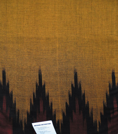 Traditional Golden And Black Ikat tie And dye Kargil Cotton saree