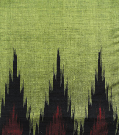 Traditional Citron And Black Ikat tie And dye Kargil Cotton saree