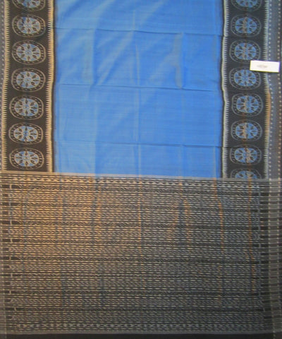 Traditional Blue and Black Cotton Saree