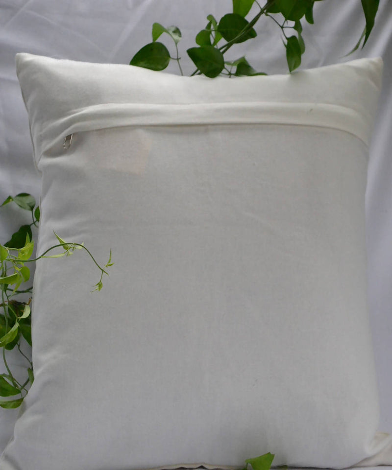 White yellow dot lambani hand embroidery cotton cushion cover