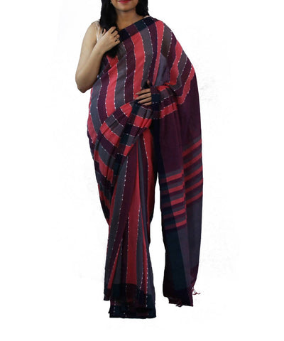 Pink grey and black striped handwoven bengal cotton saree