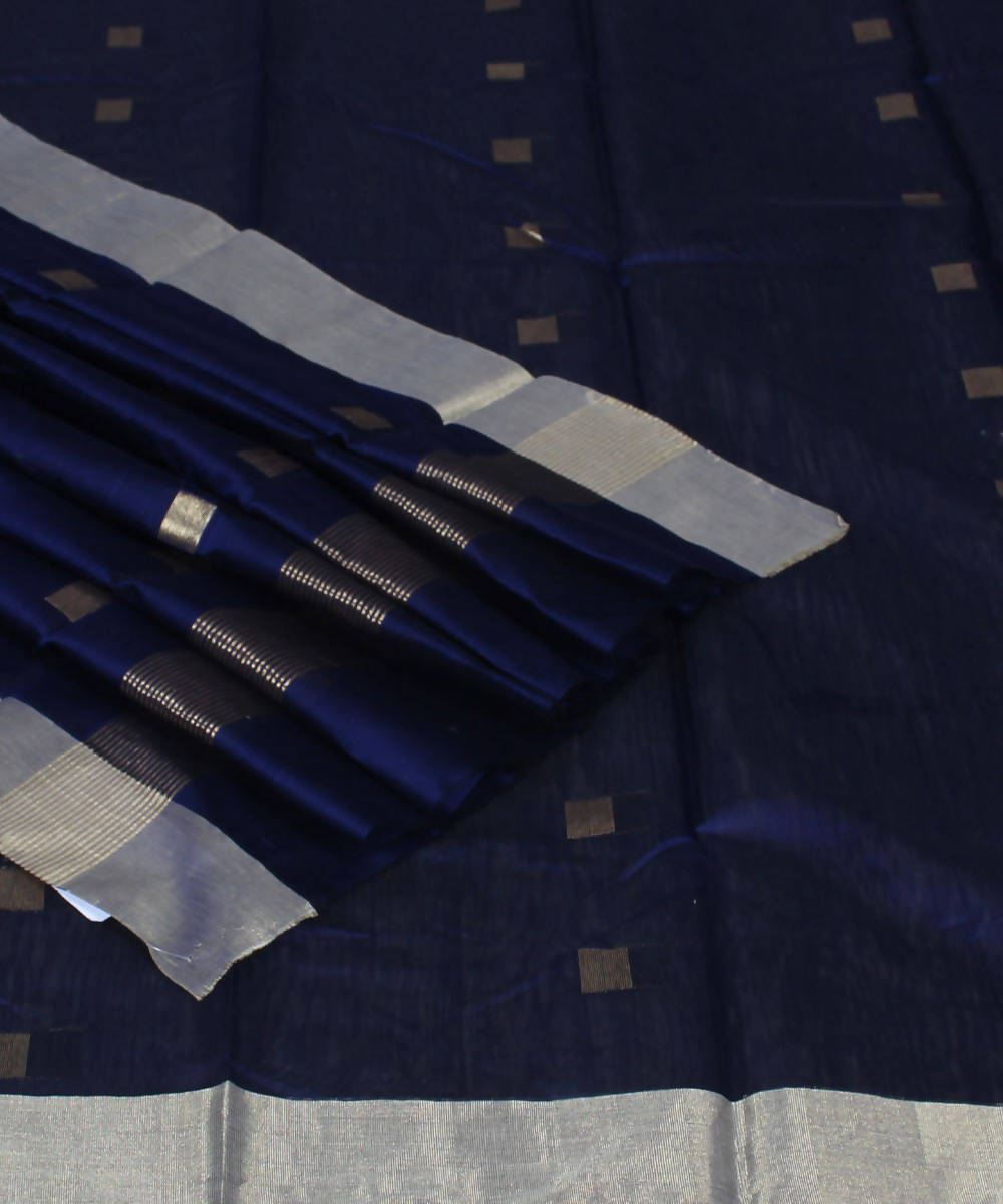 Handloom Chanderi Navy Blue Cotton Silk Saree