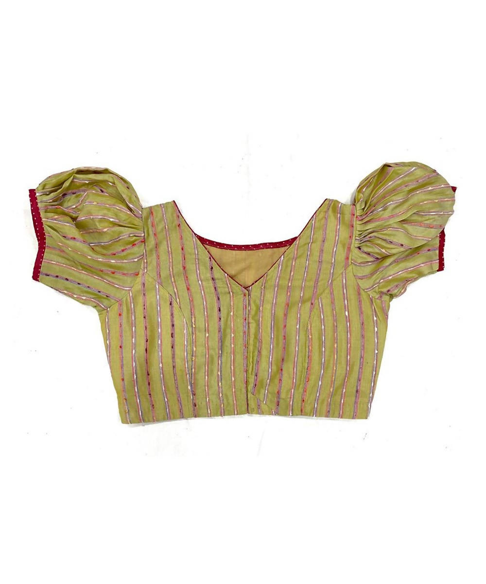 Olive handwoven cotton silk striped blouse