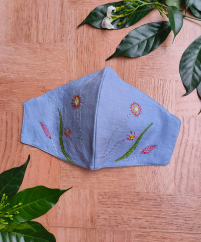 embroidered Cotton Fabric face Masks Pack of 3