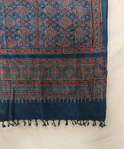 Red Ajrakh handblock print on deep blue handwoven cotton stole