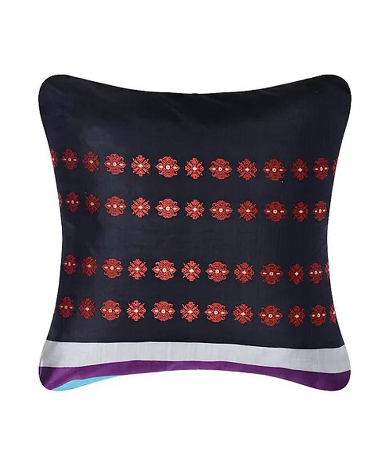 Multicolour silk baluchari cushion cover