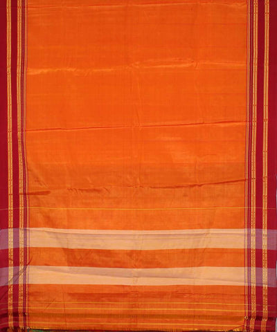 Red orange handwoven magenta chikki paras border ilkal saree