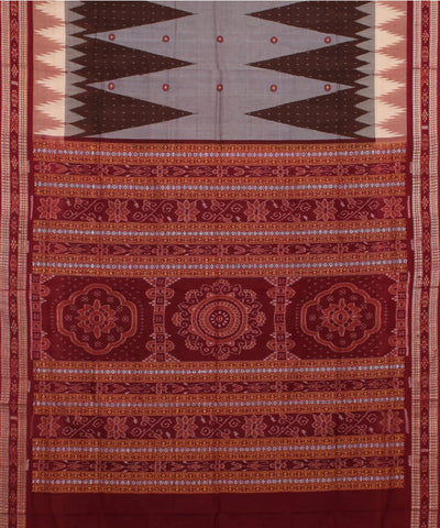 Handloom Grey Maroon Bomkai Cotton Saree
