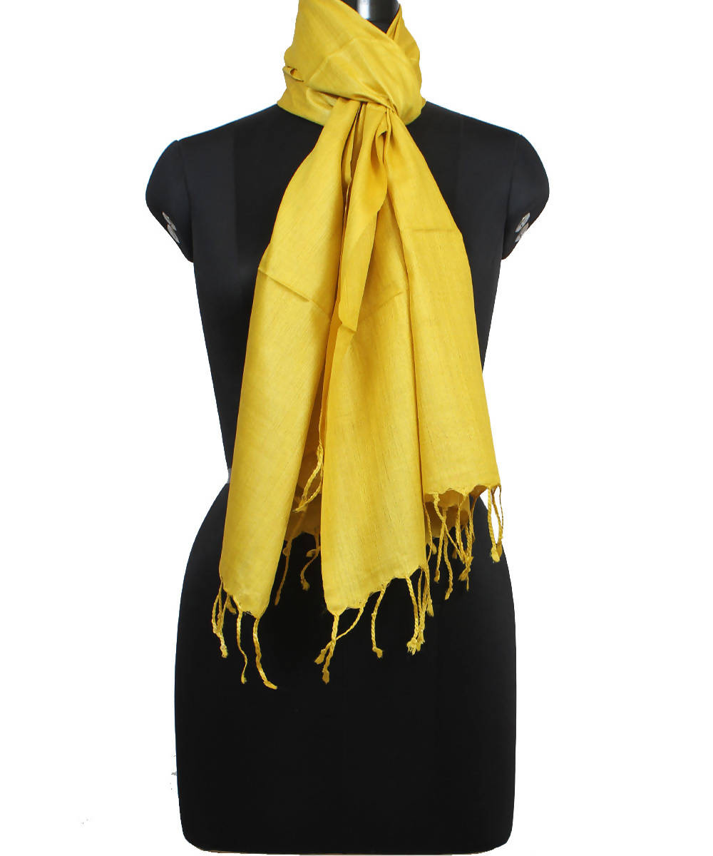 Lemon Yellow Handloom Tussar Silk Stole