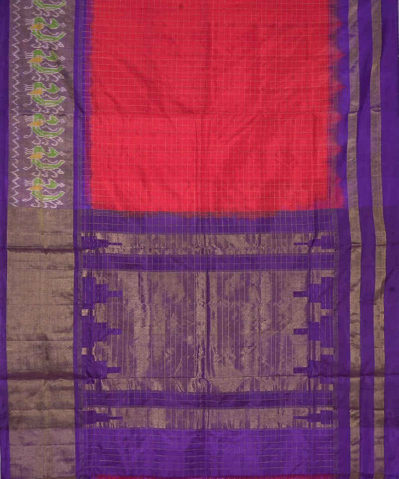 Handloom Pink Red Pochampally Ikat Silk Saree