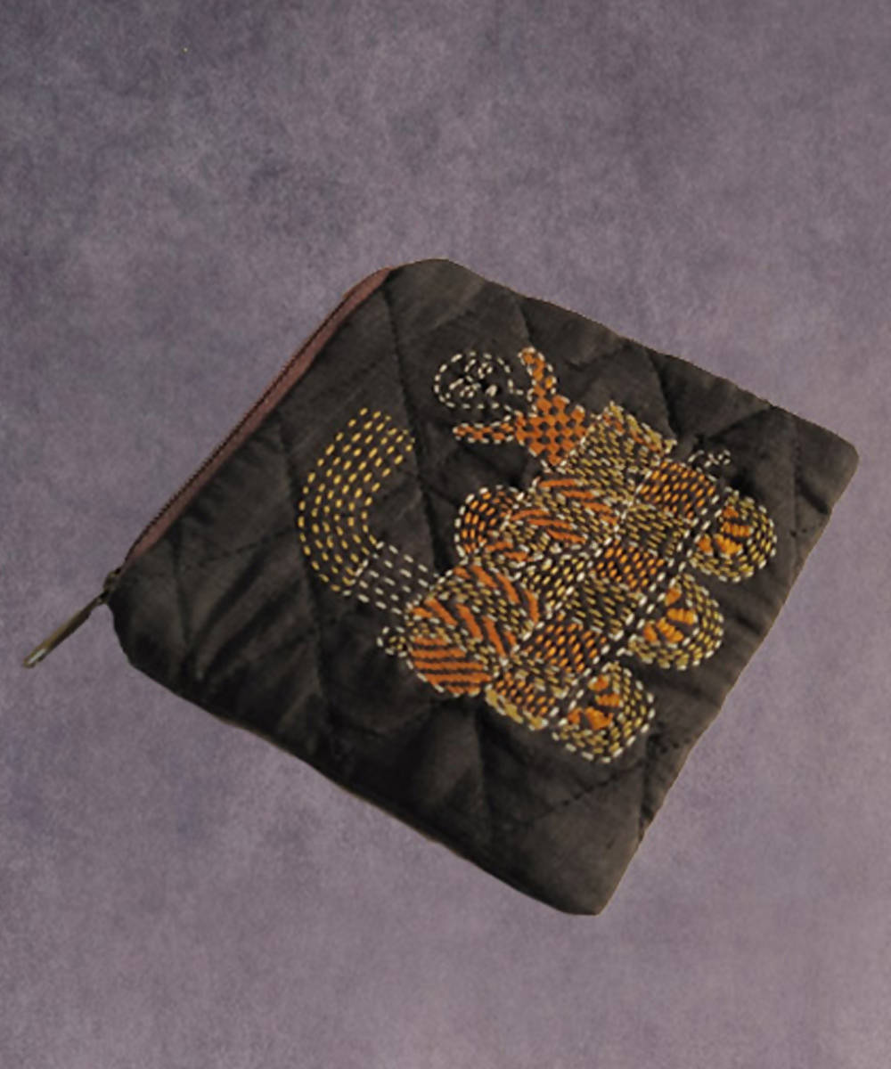 Black hand made kantha stitch silk coin purse