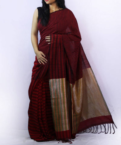 Maroon with black stripes handwoven bengal cotton saree