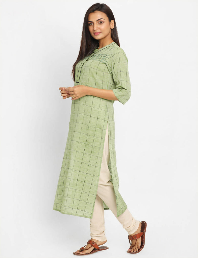 Green Checks Handwoven Cotton Kurta Dress