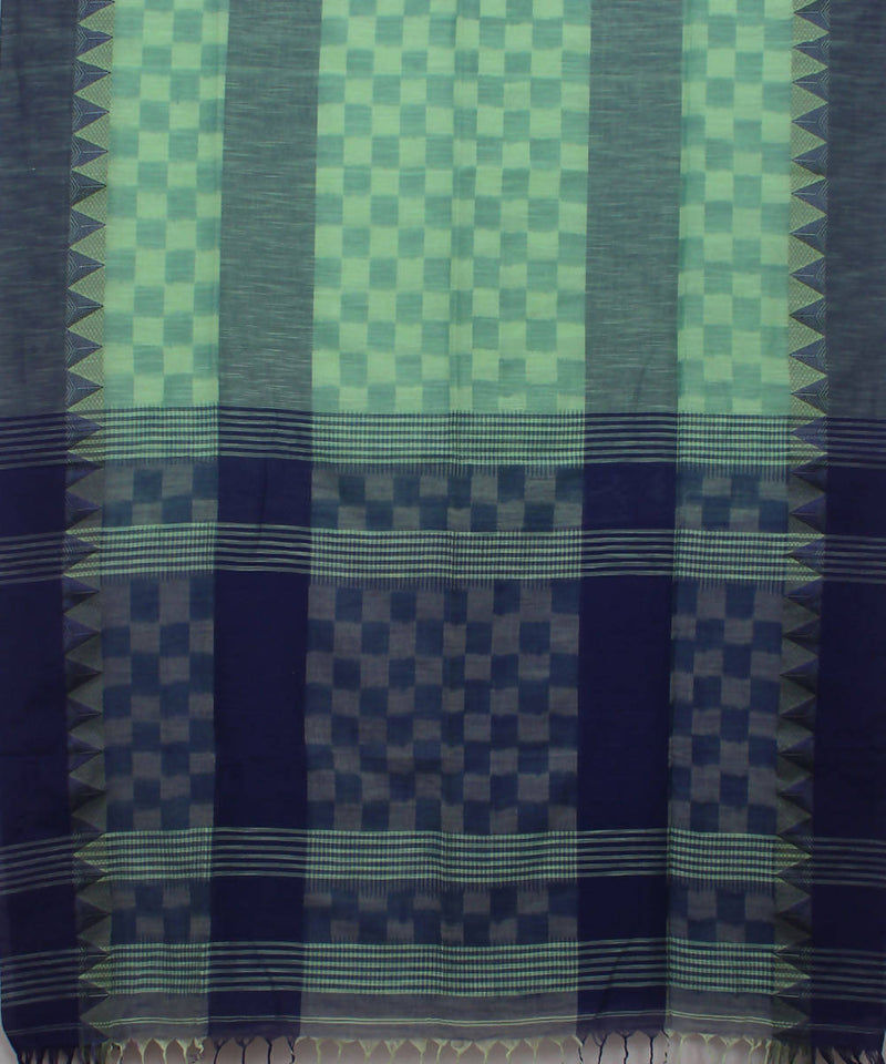 Bengal Handloom Green Blue Cotton Saree