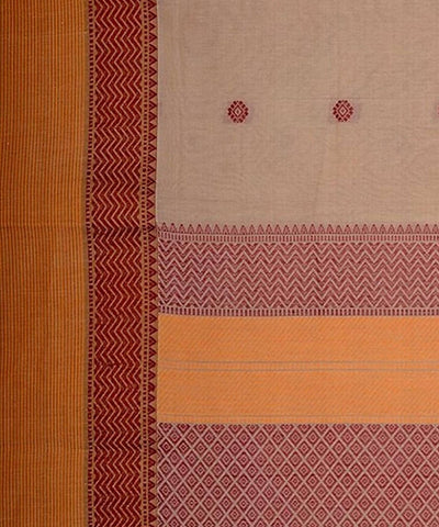Broad Border Handloom Off White Kanchi Cotton Saree