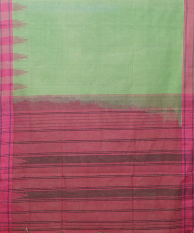 Salem Handloom Cotton Saree in Green and Pink