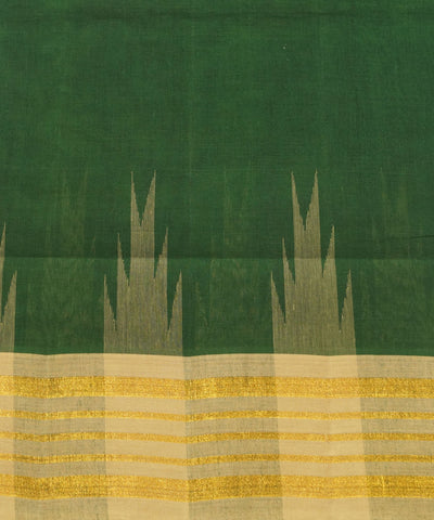 Salem Handloom Cotton Saree in Dark Green